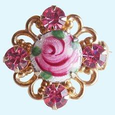 "Tiny Enamel & Pink Rhinestone Vintage Mini Pin Brooch - 11/16"" For Doll or Lapel"