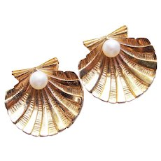 Gorgeous TRIFARI Signed Shell Vintage Clip Earrings
