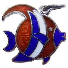 Sterling & Enamel FISH Vintage Charm or Tiny Pendant - Signed Beau