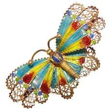 Fabulous Butterfly 800 Silver Plique a Jour Enamel Vintage Brooch