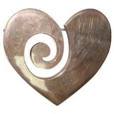 Fabulous MEXICAN STERLING Signed Vintage HEART Design Vintage Brooch
