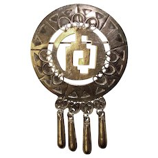 Fabulous MEXICO STERLING Ornate Design Vintage Dangle Pendant Brooch