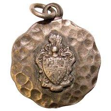 Awesome Sterling Hammered SHIELD DESIGN Vintage Charm Pendant