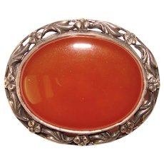 Fabulous STERLING CARNELIAN Vintage Hallmarked Estate Brooch