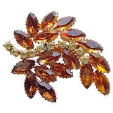 Gorgeous BROWN & YELLOW RHINESTONE Vintage Brooch - Autumn Fall Colors
