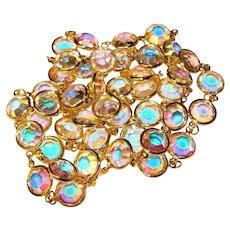 Fabulous Bezel Edge Set Aurora Crystal Stones Vintage Necklace