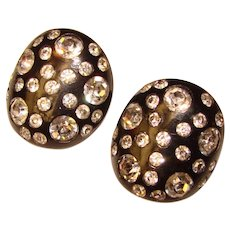 Fabulous WEISS Black Thermoplastic Rhinestone Vintage Clip Earrings