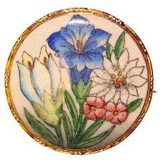 Fabulous Enamel Flower Design Vintage Brooch