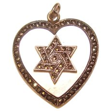 Gorgeous STERLING Mother of Pearl Marcasite Heart Pendant - Star of David