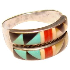 Gorgeous STERLING Inlay Stone Southwest Design Vintage Ring - Signed AD
