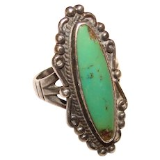 Fabulous STERLING & TURQUOISE Elongated Stone Vintage Ring