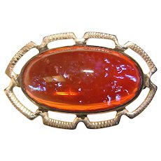 Fabulous STERLING Dragons Breath Glass Stone Vintage Brooch