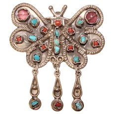 Fabulous Mexican Sterling & Stones Vintage BUTTERFLY Dangle Brooch Pendant - Taxco