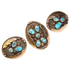 Fabulous STERLING TURQUOISE Southwest Design Vintage Ring & Earrings SET