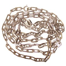 Fabulous STERLING Long Link Vintage Chain Necklace