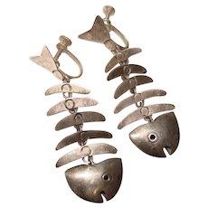 Fabulous MEXICO STERLING Skeletal Fish Vintage Dangle Earrings