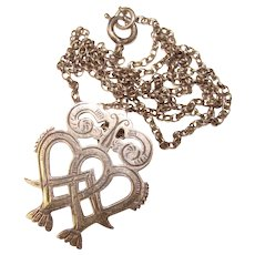 Gorgeous Sterling OLA GORIE Intertwined Hearts Pendant Necklace