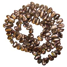 Fabulous GRAY BROWN Fresh Water Pearls Necklace