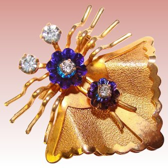 Fabulous Margarita Crystal Purple Blue Rhinestone Insect Brooch