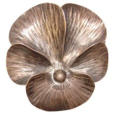 Fabulous NYE Signed STERLING Pansy Flower Shaped Brooch