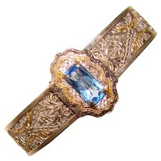Fabulous ART DECO Filigree Blue Stone Bracelet