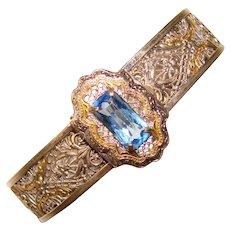 Fabulous ART DECO Filigree Blue Stone Bracelet
