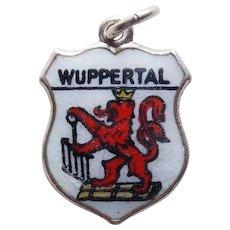 800 Silver & Enamel WUPPERTAL Vintage Estate Charm - Souvenir of Germany