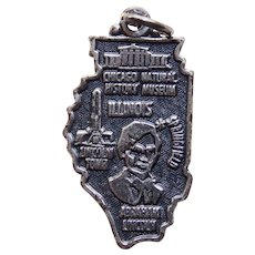 Awesome ILLINOIS Sterling Vintage Charm - State Souvenir - Maisels Indian Trading Post