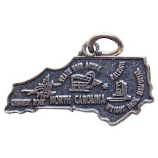 Awesome NORTH CAROLINA Sterling Vintage Charm - State Souvenir - Maisels Indian Trading Post