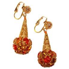 Fabulous CITRUS COLORS Rhinestone Spheres Vintage Dangle Earrings