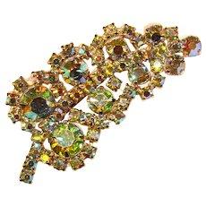 Fabulous GREEN Aurora Rhinestone Vintage Brooch