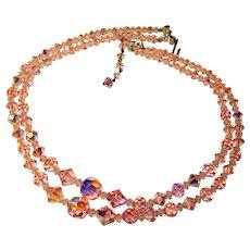 Fabulous Long PINK AURORA CRYSTAL 2 Strand Vintage Necklace