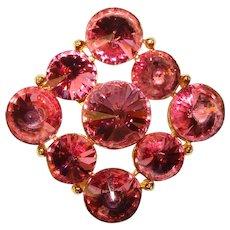 Fabulous Pink RIVOLI RHINESTONE Vintage Brooch