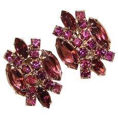 Fabulous PURPLE Rhinestone Vintage Clip Earrings