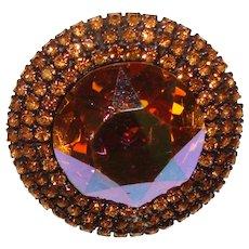 Fabulous WEISS Huge Stone Amber Aurora Rhinestones Vintage Brooch
