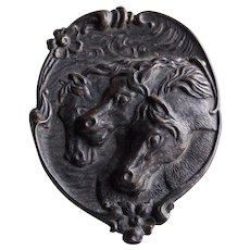 Fabulous Antique HORSES Victorian or Edwardian Figural Brooch