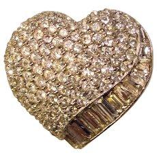 Fabulous Pavé Rhinestone Vintage HEART Shaped Brooch
