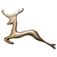 Awesome MEXICAN STERLING Leaping Deer Design Vintage Brooch