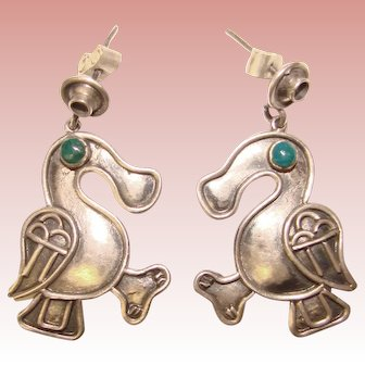 Wonderful STERLING Bird Design Vintage Earrings