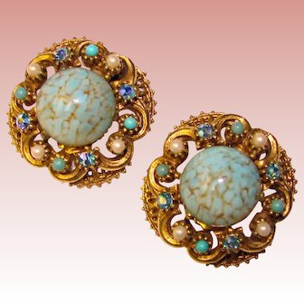 Fabulous Florenza Signed Turquoise Glass Rhinestone Vintage Earrings