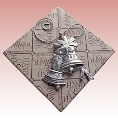 Sterling HAND & HAMMER Signed Vintage Christmas Bells Ornament