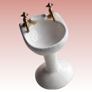 Dollhouse PEDESTAL SINK Vintage Miniature Ceramic