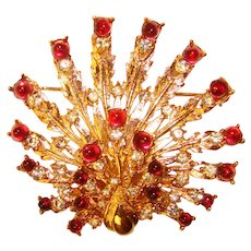 Fabulous BOUCHER Signed Red Glass Stones Vintage Brooch
