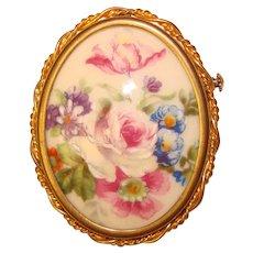 Signed LIMOGES FRANCE Porcelain Vintage Brooch - Pink Rose and Flowers