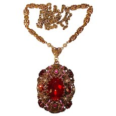 Fabulous WEST GERMANY Red Stones Filigree Pendant Necklace
