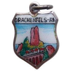800 Silver & Enamel DRACHENFELS Vintage Estate Charm - Souvenir of Germany