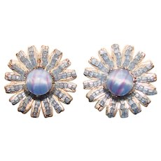 Fabulous MIRIAM HASKELL Blue Glass Vintage Clip Earrings