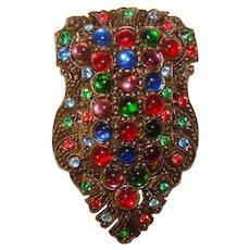 Fabulous COLORED GLASS Stones Vintage Dress Clip