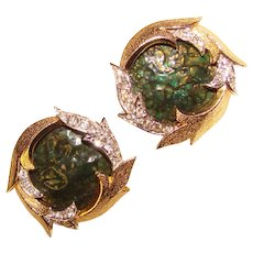 Fabulous BOUCHER Signed Enamel Rhinestone Vintage Clip Earrings