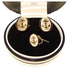 Awesome World's Greatest Yachtsman Vintage Cufflinks - Original Box - Swank